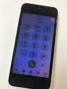 画面が青紫に暗くなってるiPhoneSE